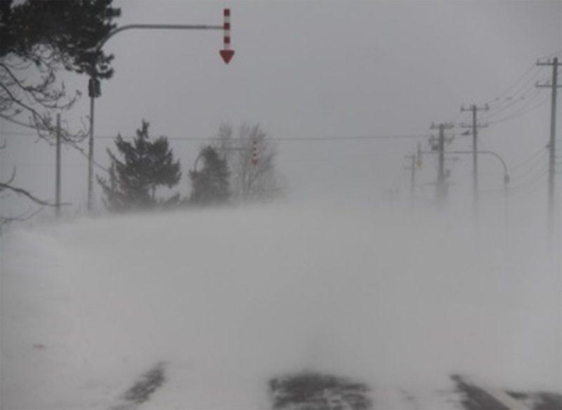 降雪はないが周辺の積雪が強風で飛ばされて視程障害が発生している状況